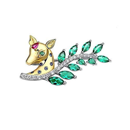 JXtong2 Broche en forme de cerf Femme Argent 925 Vintage Bijoux Cadeau d'anniversaire Boîte à bijoux
