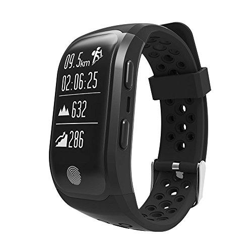 Reloj de pulsera inteligente Upxiang S980 rastreador de fitness, función GPS, monitor de frecuencia cardíaca, resistente al agua, podómetro, monitor de sueño, conexión Bluetooth 4.0, para caminar, correr, ciclismo, natación, llamadas, mensajes, compatible con iOS8+ y Android 4.3+ como el iPhone 7 7 Plus 6 y Samsung S8, 0.07 pounds, color negro