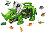 PowerTRC Dinosaur Storage Carrier for Your Dinosaurs and Cars | 6 Small Dinosaur Figures and 4 Vehicles | Portable Dinosaur Case