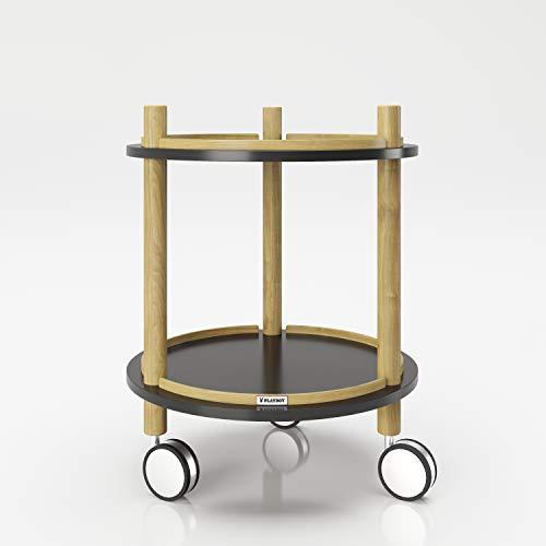 PLAYBOY 145117SW bijzettafel op wieltjes met twee legplanken, zwart, 40 x 50 x 40 cm
