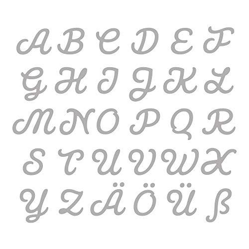 Rayher 59255000 stanssjabloon (Diy) set alfabet, capital, hoofdletters, ca. 0,5 – 1,8 cm, 100% staal, sjabloon voor stansmachines, voor het stansen van papier, karton, vilt, stof, kurk enz.