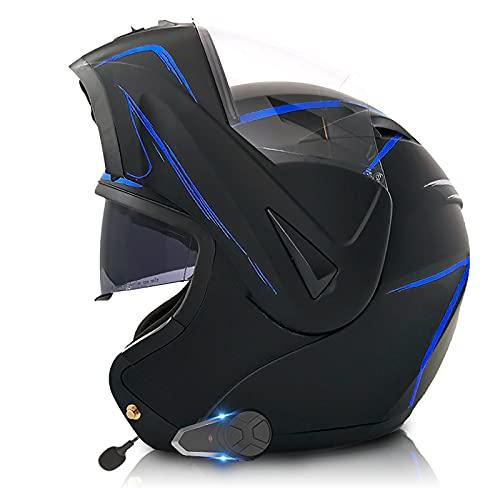 SJAPEX Casco de Moto Modular Bluetooth Integrado/FM/con Doble Anti Niebla Visera Cascos de Motocicleta A Prueba De Viento para Adultos Hombres Mujeres ECE Homologado D,S=55~56cm
