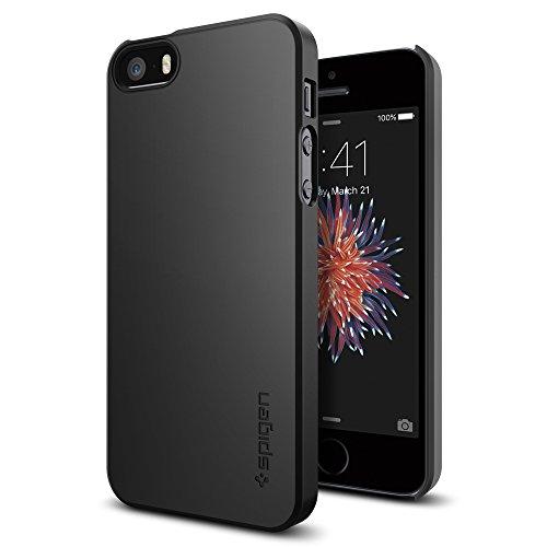 Spigen Thin Fit Hülle Kompatibel mit iPhone SE, iPhone 5s und iPhone 5 -Schwarz