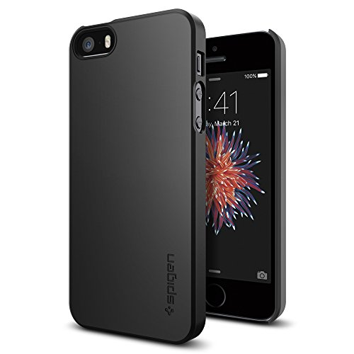 Spigen Cover iPhone 5S, Cover iPhone SE 2016 Thin Fit Progettato per iPhone 5S / 5 / SE 2016 Cover Custodia - Nero