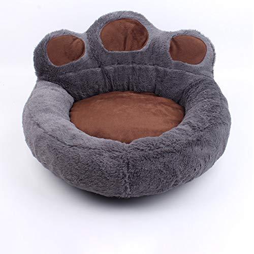 Electomania Beds Pet Dog Cat Cama caliente invierno preciosa pata de oso colchoneta para dormir Sofá Material suave Pet Nest Teddy Doghouse para cachorro gatito Accesorios (L, gris)