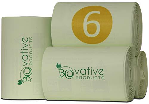 Bolsas de basura orgánica compostable 6L con y sin asa - 100% compostable y biodegradable - 200 piezas. Bolsas de basura orgánica de 6 litros con y sin mango para su basura orgánica y compost.