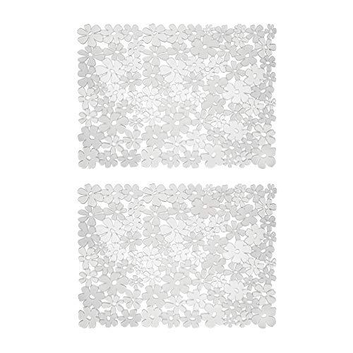 mDesign Decorativo tapete Antideslizante para Proteger el Fregadero de ara/ñazos Alfombrilla de PVC Extragrande Negro Protector de Fregadero de Cocina con dise/ño de Rejilla