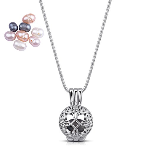 EUDORA Feminine Retro Celtic Knot Locket Pendant Natural Pearl Charm Eternal LoveWhite Gold Hollow Pearl Bead Cage Pendant Locket for DIY Jewelry Making
