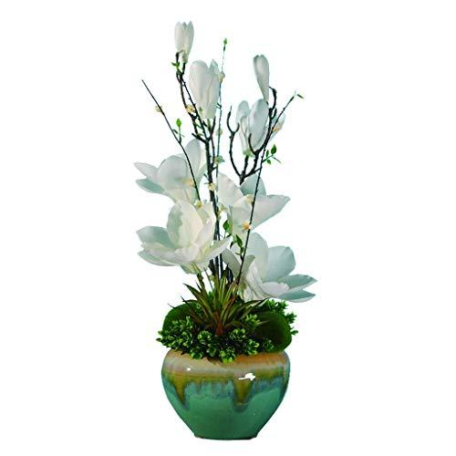 HTL Hermosas Flores Artificiales Estilo Retro Simulación Magnolia Bonsai con Jarrón, Flor Artificial Bonsai para Sala de Estar Oficina Y Dormitorio, Flor de Seda Bonsai Fake Plantas Decoración,Blanco