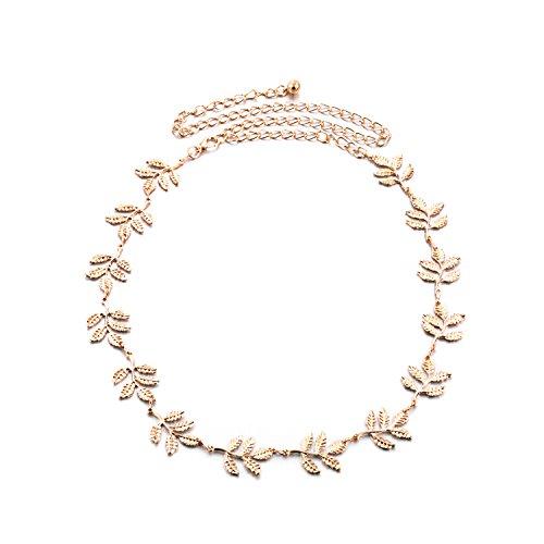 Torostra Leaf Shape Waist Chain Belt for Women Alloy Belt Chain for Dress Metal Waist Belt Chain (Gold)