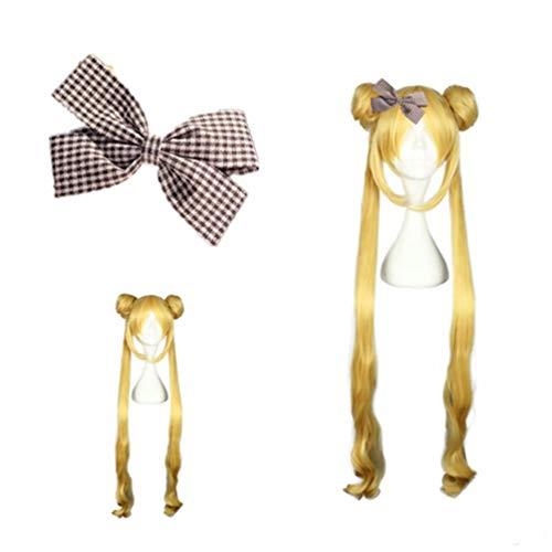 NiceLisa Mädchen Kind Lange gelbe goldene Haare Halloween Anime Sailor Moon Tsukino Usagi Cosplay Kostüm synthetische Halloween Perücken