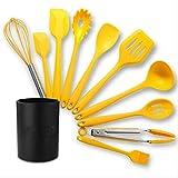 Utensilios de cocina de silicona amarilla, juego de utensilios de cocina resistentes al calor, utensilios de cocina antiadherentes con caja de almacenamiento