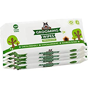 Pogi's Grooming Wipes – 400 Hypoallergenic Pet Wipes for Dogs & Cats – Plant-Based, Green Tea Leaf Scented, Deodorizing Dog Wipes
