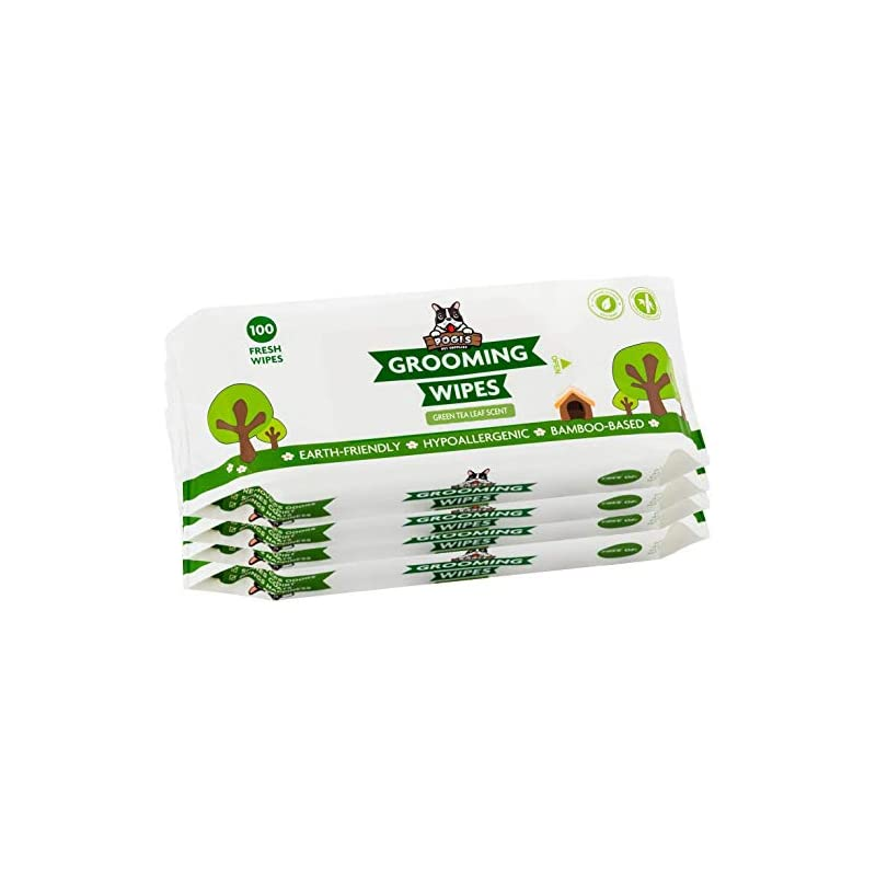 dog supplies online pogi's grooming wipes - 400 hypoallergenic pet wipes for dogs & cats - plant-based, green tea leaf scented, deodorizing dog wipes