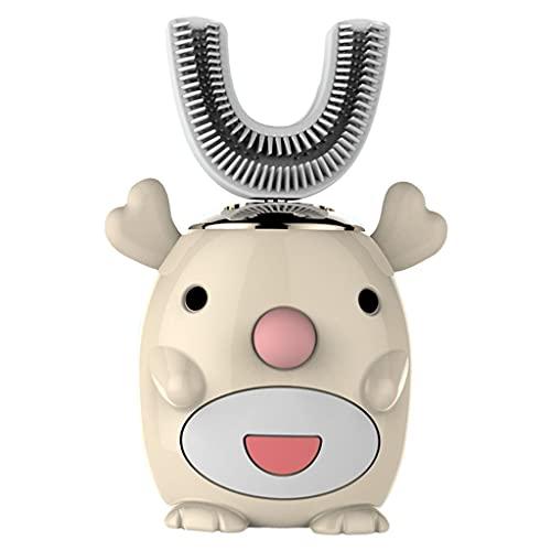 F Fityle Cepillo de dientes eléctrico inteligente de 360 ° para niños en forma de U, cepillo de dientes recargable de cinco modos, suministros de - Ciervo amarillo
