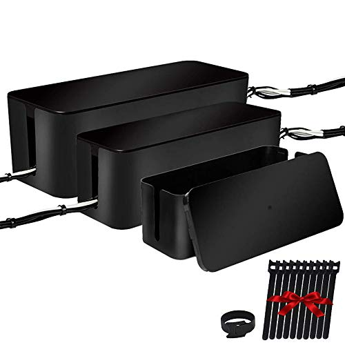 [Set of Three] Cable Management Boxes Organizer, Large Storage Wires Keeper Holder for Desk, TV, Computer, USB Hub, System to Cover and Hide & Power Strips & Cords (Black)