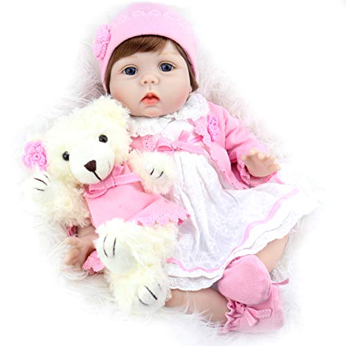 Aori Realistic Reborn Baby Doll 22 Inch Lifelike Weighted Reborn Baby Girl Doll with White Bear Accessories