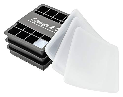 Lifestyle 2.0 2 2.0 Silicone avec Couvercle Set De 3 Bacs À Démoulage Facile Glaçons en Cubes sans BPA, Noir, 2