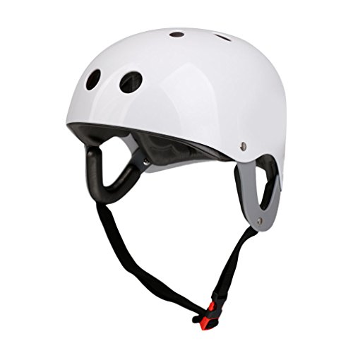 MonkeyJack Pro Safety Adjustable Helmet CE Approved for Whitewater Waterskiing Sports Kayaking Sailing Rafting Boating Head Circumference 22.4''-24.4'' - White