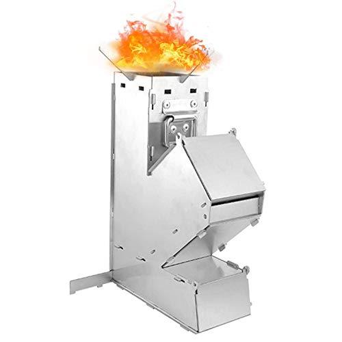 Estufa de cohete de leña, 17.5x8.5x28cm Estufa de cohete para acampar plegable Estufa de cohete de acero inoxidable para quemar leña Estufa campamento para mochileros Estufa para cocinar al aire libre