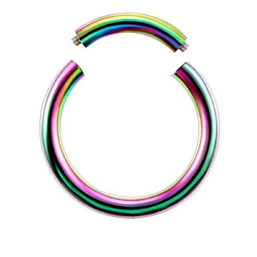 NUOYIYI 1pc Segmento Oído Piercing Nariz Anillo Captativo Septum Nariz Hoop Ear Tragus Piercing Clip en Pendientes Joyería de Moda 14g 16g-1.2x8mm v Arco Iris