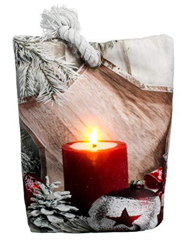 Brandseller Kerstmis deurstopper LED verlichte timer decoratiezakje 20x15 cm 20x15 cm Kaars/rood