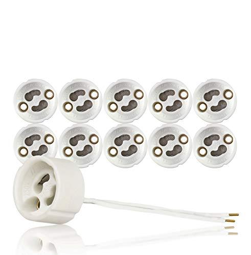 GU10 Standard Keramik Fassungen mit Aderendhülsen gecrimpt VDE RoHS 230-250 Volt 2A max.100W 0,75mm2 Kabel LED Halogen (hier: 10 Stück)