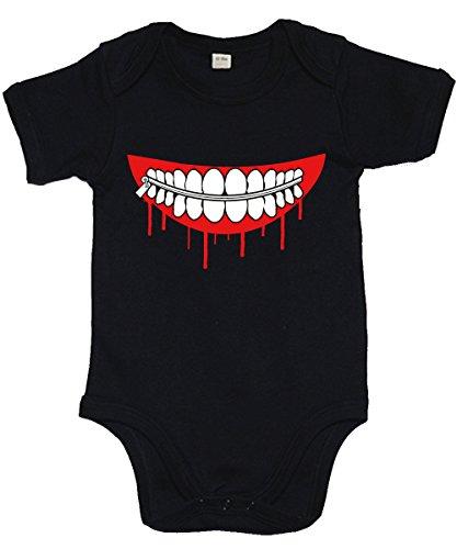clothinx - Kanekis Mask - Babybody Schwarz, Größe 3/6 Monate