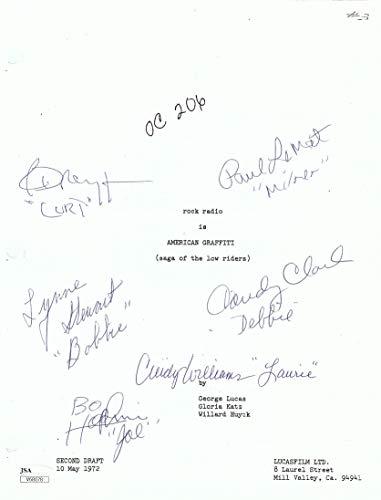 American Graffiti Cast Signed Autographed Screen Play Cover Le Mat Dreyfuss JSA