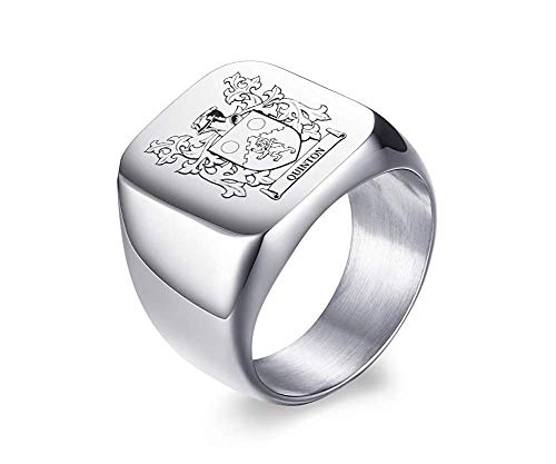 VNOX Custom Personalized Family Crest/Logo/National Emblem/Signet Ring Stainless Steel Ring for Men
