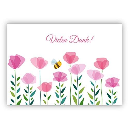 Fröhliche Dankes Karte mit Blumen und kleiner Biene: Vielen Dank • tolle Grusskarte mit Umschlag in Premium Qualität um Danke zu sagen
