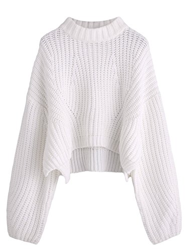 Material:100% Acrylic Features: Crewneck, lattern long sleeve, oversized, high low hem, drop shoulder, crop sweater Casual, sweet, elegant. Suitable for casual, formal work occasions Great to pair jeans, pants, skirts, outwears Please refer to the si...