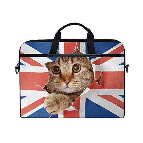 Ahomy Laptoptasche, 33,3-35,6 cm (13,3-14 Zoll) mit Katzenloch in Großbritannien-Flagge, multifunktional, Stoff, wasserfest, Aktentasche mit Schultergurt