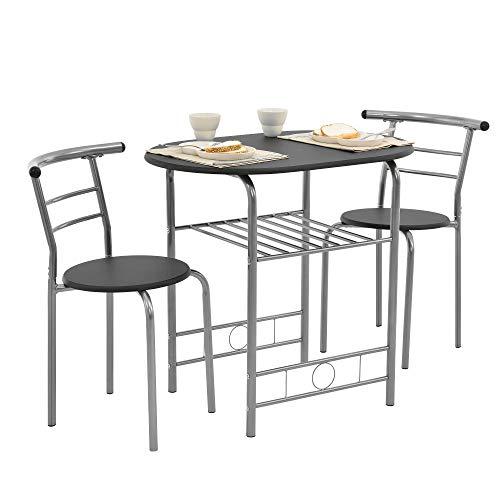 [en.casa] Bistro-Set Schwarz/Grau Tisch- und Stuhlset Sitzgruppe Esstisch Stühle