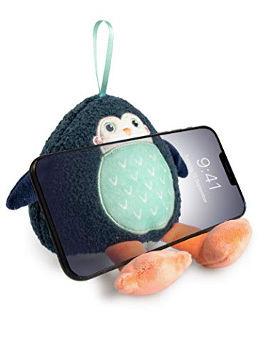 Planet Buddies Plush Phone Stand and Screen Cleaner, Universal Phone Holder for Kids Mobile Phones, Plush Toy Phone Stand for iPhone, Samsung, Huawei and More, Pepper Penguin, Black Blue