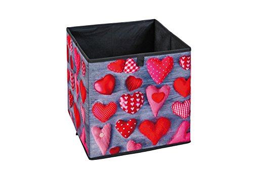 Inter Link Florence Caja Plegable, Poliuretano, MDF, Gris/Rojo, 32 x 32 x 32 cm, Fantasia, 32x32x32 cm