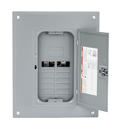 Square D by Schneider Electric HOM1224L125PC Homeline 125 Amp 12-Space 24-Circuit Indoor Main Lugs Load Center with Cover (Plug-on Neutral Ready), Gray