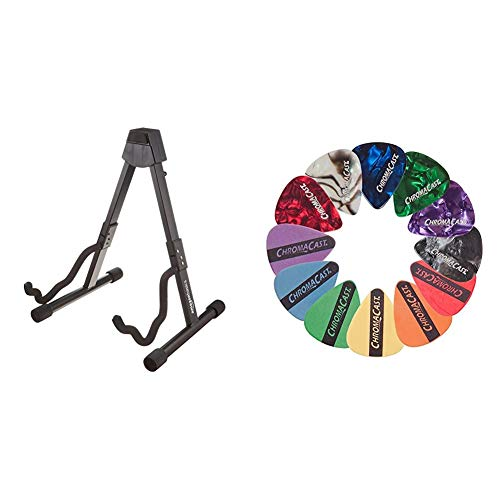 Amazon Basics Guitar Folding A-Frame Stand for Acoustic and Electric Guitars & ChromaCast CC-SAMPLE Sampler Guitar Picks (12 count)