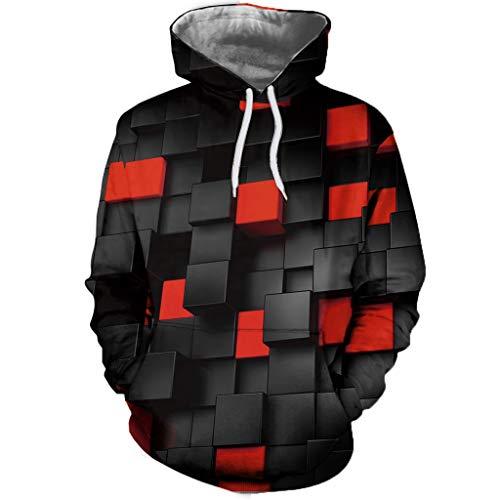 Xmiral Kapuzenpullover Herren 3D Farbblock Farbblock Sweatershirt Lange Ärmel Hoodies Oberteile Tasche Tunnelzug Pullover Outdoor Sportbekleidung (Rot,4XL)