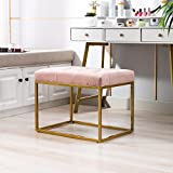 21.65''w Living Room Tufted Ottoman with Golden Metal Foam Pink Urban Solid