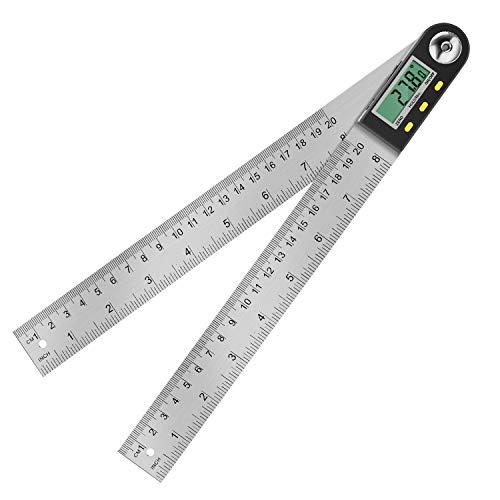 Digitaler Winkelmesser, Winkelmesser mit LCD Anzeige aus Edelstahl, Elektronischer schmiege Winkel Lineal 400 mm, 360° Winkel Messen für Holzarbeiten, Heimarbeit, Handwerker (Wasserdichte IP54)