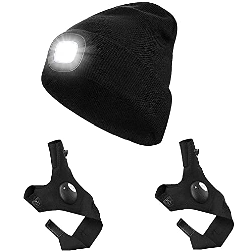 Guantes de punto LED Beanie Set linterna guantes del sombrero de pesca para deportes al aire libre que acampa yendo de Pesca Correr Negro 3PCS de playa al aire libre Pesca Parasol