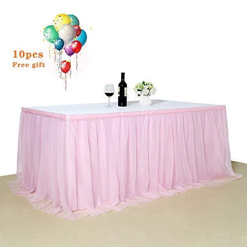 Tulle Pink Table Skirt 9Ft Romantic Tutu Fluffy Table Skirt for Wedding Baby Shower Girl Princess Birthday Party Decor