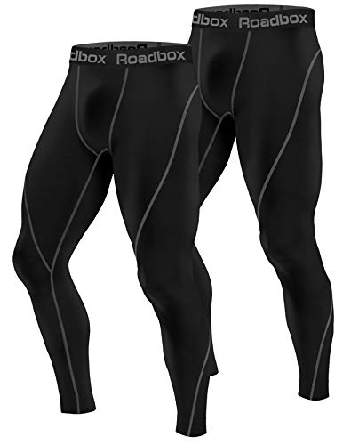 Roadbox Men's Compression Pants 2 Pack, Workout Warm Dry Cool Sports Leggings Tights Baselayer