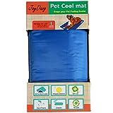 Alfombrilla de refrigeración para mascotas,Animales Nevera y Manta para Perro Fresco Cojín Azul Nevera Techo Perfecta para Camas by JoyDaog,L(90*50cm)