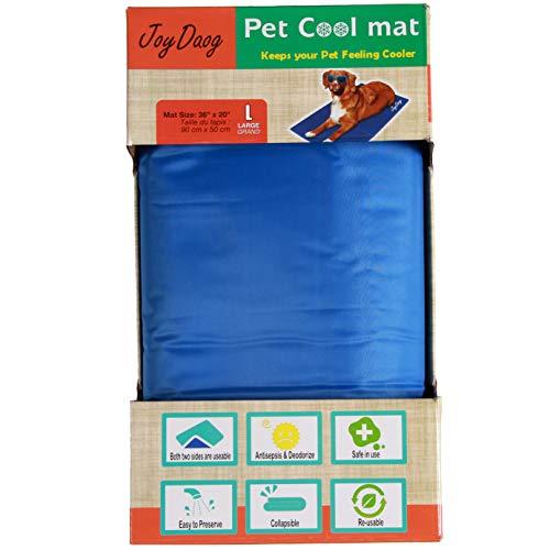 Alfombrilla de refrigeración para Mascotas,Animales Nevera y Manta para Perro Fresco Cojín Azul Nevera Techo Camas by JoyDaog,L(90 * 50cm)