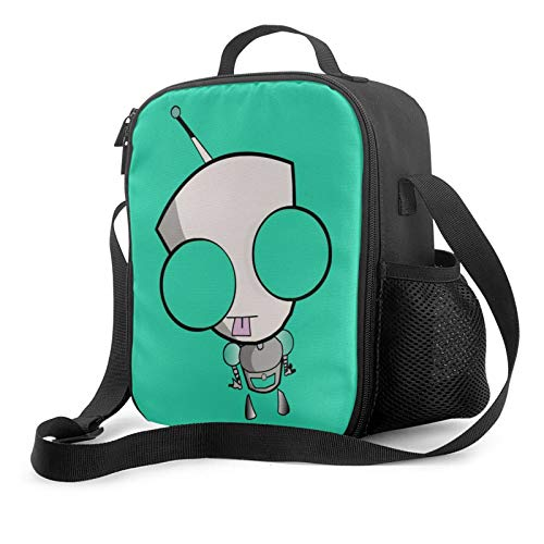 Invader Zim Insulated Lunch Bag Reusable Durable Leakproof Lunch Box, Adjustable Shoulder Strap Portable Tote Cooler Bag For Office Work School Picnic Beach