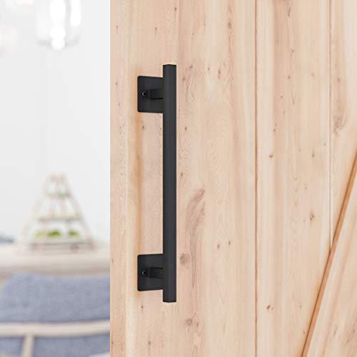 """SMARTSTANDARD 12"""" Antique Rustic Handmade Barn Door Handle, Black Flush Square Base Handle Pull, for Gate, Garage, Sheds"""