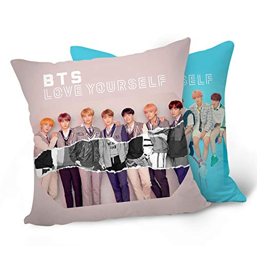 "Skisneostype Nuevo álbum de BTS 《Love Yourself ""Answer》 BTS Bangtan Boys Pillowcase Sofa Throw Pillow Cushion Case 16X16 Inch Perfect for Home/Car/Office/School Decor Great Gift(H09)"