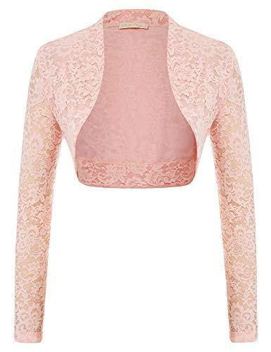 Ladies Bolero Long Sleeve Shrug Jacket for Dresses (S,Pink)